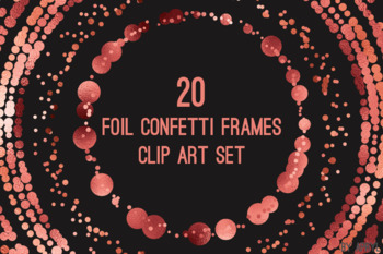 Coral Red Confetti Round Frames 20 PNG Clip Art 8in Foil Metallic S4
