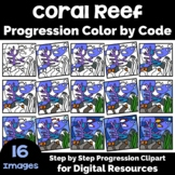 Coral Reef Progression Color by Code Clipart