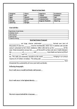 Coral Reef Review Worksheet
