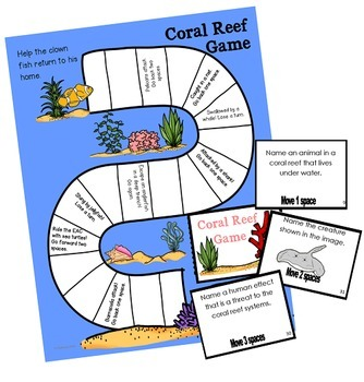 Coral Reef Systems Informational Text Ebook, Writing Prompts and Review Game