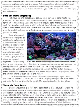 Coral Reefs Reading Comprehension with Differentiated Questions