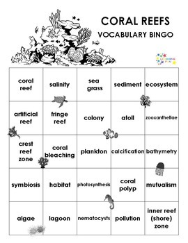 Coral Reefs Vocabulary Bingo