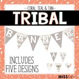 Coral, Teal & Tan Tribal Classroom Banner