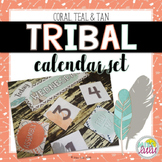 Coral, Teal & Tan Tribal Classroom Calendar Set