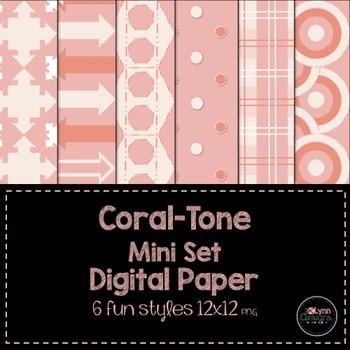 Coral-Tone Digital Paper Mini Set