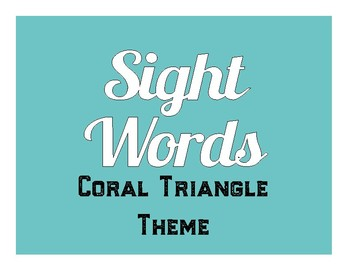 Coral Triangle Themed Pre-K Sight Word Cards