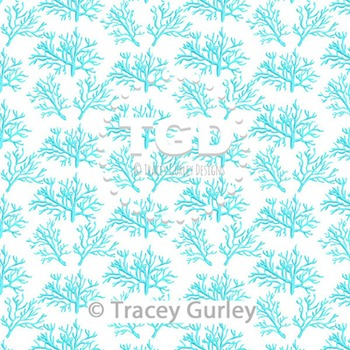 Coral - Turquoise on White digital paper Printable Tracey Gurley