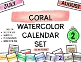 Coral Watercolor Calendar Set