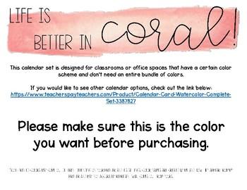 Coral Watercolor Calendar Set