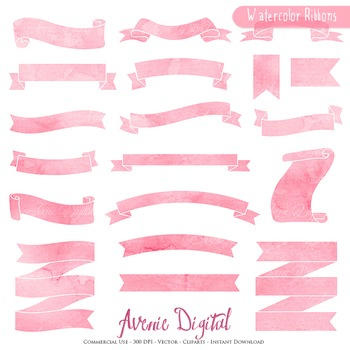 Coral Watercolor Ribbon Banners clip art Pink ribbons clipart hand drawn labels