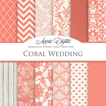 Coral Wedding Digital Paper patterns - bridal light reed backgrounds