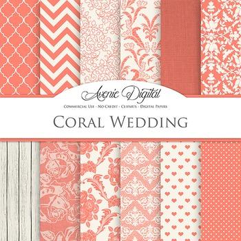 Coral Wedding Digital Paper patterns - bridal light reed backgrounds