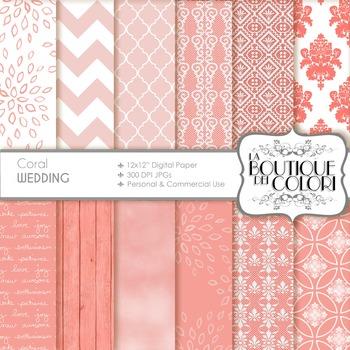 Coral Wedding Digital Paper, scrapbook backgrounds