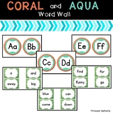 Coral and Aqua Word Wall