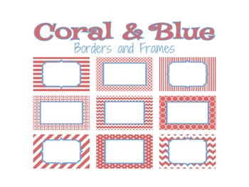 Coral and Blue Borders and Frames