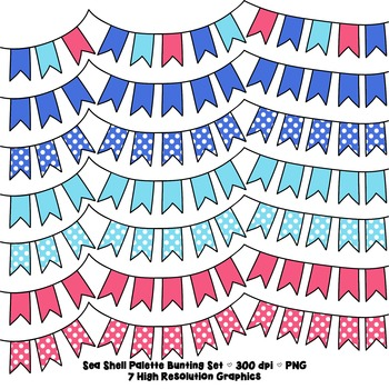 Coral and Blue Bunting Clip Art Set