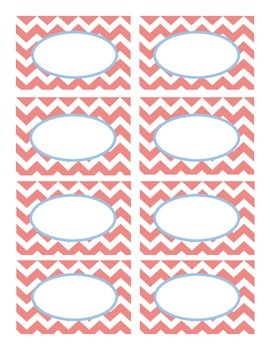 Coral and Blue Chevron Labels