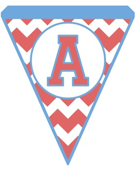 Coral and Blue Chevron Pennants