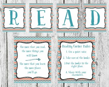 Coral and Blue Read Set classroom Decor, Dr. Seuss Quote, READ decor sign