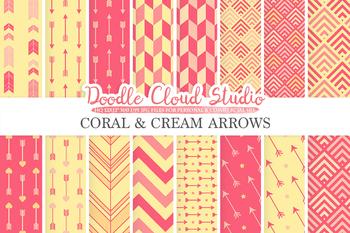 Coral and Cream Arrows digital paper, Arrow patterns, tribal archery chevron.