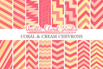 Coral and Cream Chevron digital paper, Chevron and Stripes  pattern, tribal