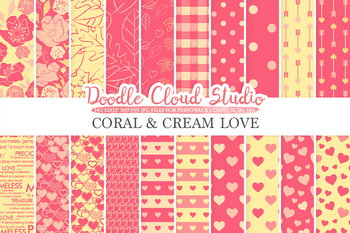 Coral and Cream Romantic digital paper, Valentine's day patterns,  Love, Roses