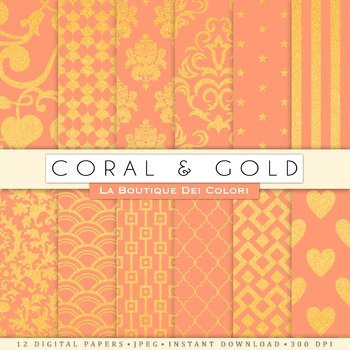 Coral and Gold Digital Paper, scrapbook backgrounds