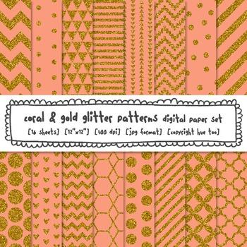 Coral and Gold Glitter Digital Paper, Digital Glitter Texture Patterns