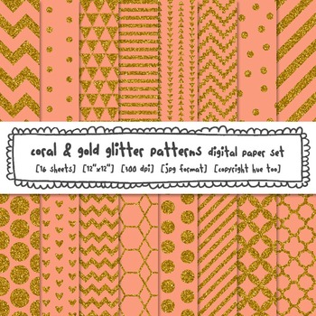 Coral and Gold Glitter Digital Paper, Digital Glitter Text