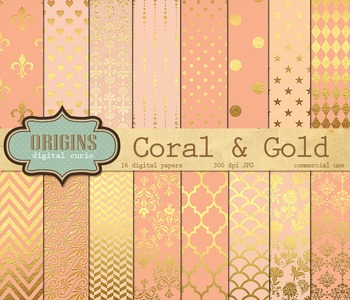 Coral and Gold digital paper, Scrapbook pack, salmon peach pink backgrounds
