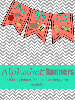 Coral and Mint Alphabet Banner