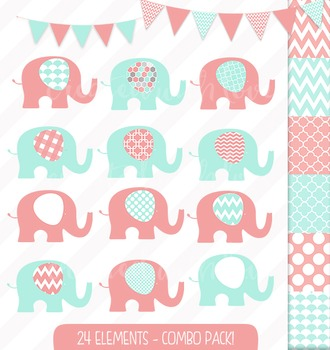 Coral and Mint Elephant and Bunting Clip Art Combo with Di