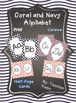 Coral and Navy Alphabet