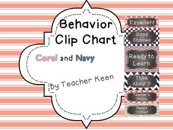 Coral and Navy Behavior Clip Chart