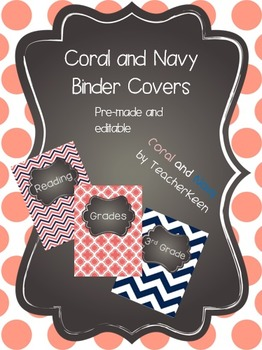 Coral and Navy Binder Covers