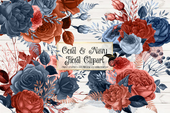 Coral and Navy Floral Clipart