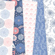 Coral and Navy Floral Digital Paper vector patterns - seamless backgrounds