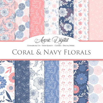 Coral and Navy Floral Digital Paper patterns - floral backgrounds