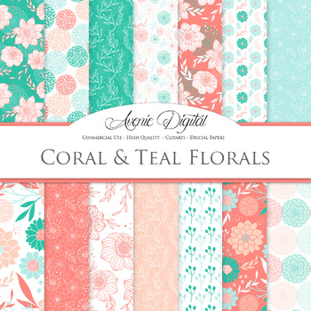 Coral and Teal Floral Digital Paper patterns - red and green floral backgrounds