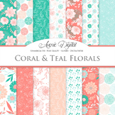 Coral and Teal Floral Digital Paper seamless vectir patterns - backgrounds