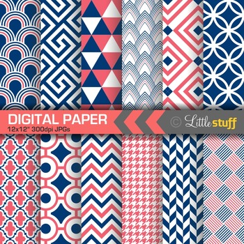 Coral and Navy Geometric Digital Paper Pack