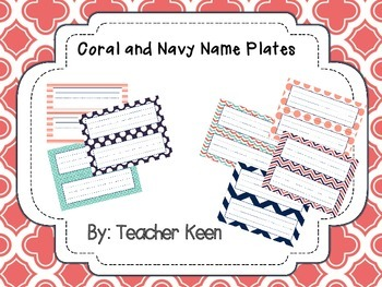 Coral and Navy Name Plates