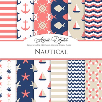 Coral and Navy Nautical Digital Paper patterns - sea scrapbook backgrounds