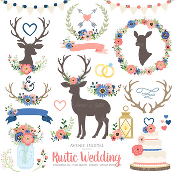 Coral and Navy Rustic Wedding Clipart - Deer and Flower Wreaths Graphics