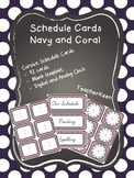 Coral and Navy Schedule Cards