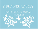 Coral and Seashell 3 Drawer Labels