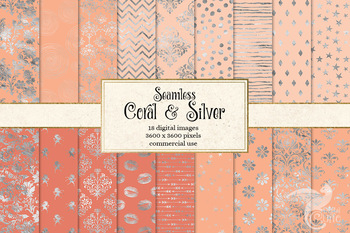Coral and Silver Digital paper, seamless peach pink patterns