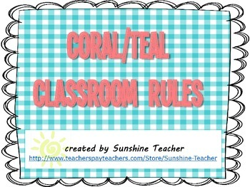 Coral and Teal Gingham Classroom Rules