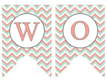 Coral and Teal Word Wall Banner