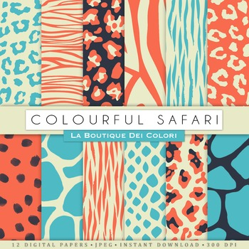 Coral and Turquoise Animal Prints Digital Paper, scrapbook backgrounds.